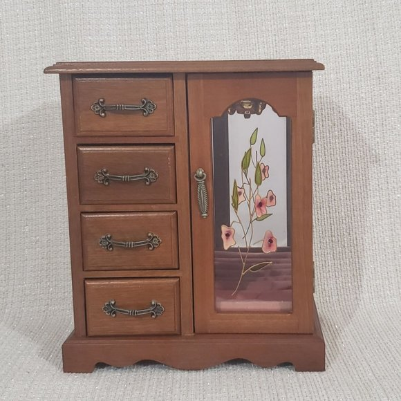 SOLD Vintage Jewelry Box Cabinet Wood